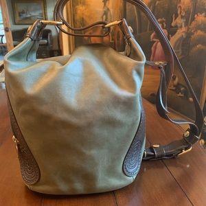 Lg Marino Orlandi Green Italian Leather Bucket Bag